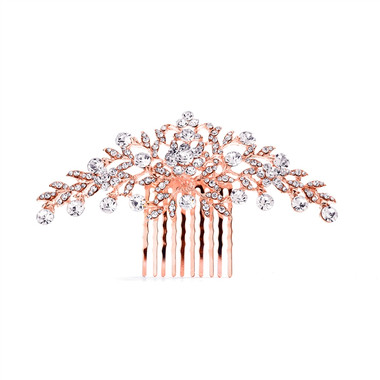 Rose Gold Crystal Wedding or Prom Comb with Shimmering Leaves