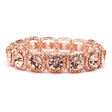 Rose-Gold Coral Color Bridal or Prom Stretch Bracelet with Crystals