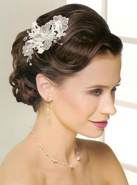 Bel Aire Bridal Accessory Headpiece 6228 - Embroidered Flower Comb