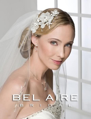 Bel Aire Bridal Accessory Headpiece 6238 - Beaded Organza Flower Comb