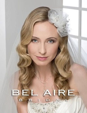 Bel Aire Bridal Accessory Headpiece 6244 - Tulle Flower Comb with Rhinestones