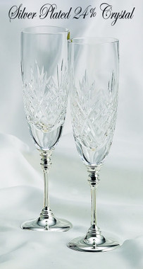 Wedding Toasting Crystal Flutes w/ Silver Stem 87131
