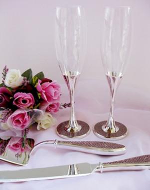 Pink Embellished Glamour Wedding Toasting Flutes FL 83633