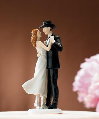 Sweet Western Embrace Romantic Wedding Cake Topper