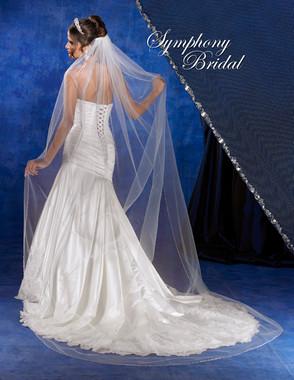 Symphony Bridal Veil - Style 5734VL- Cathedral Beaded Edge Veil