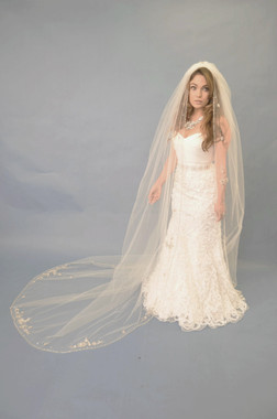 Elena Designs Wedding Veil Style E1118L - Beaded One Tier Cathedral
