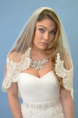 Elena Designs Wedding Veil Style E1107 -Short Lace Veil
