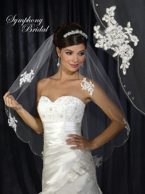 Symphony Bridal Veil - Style 6302VL - One Tier Lace with Scallop Beaded Edge