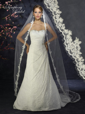 Symphony Bridal Wedding Veil - Style 6374VL - Cathedral Lace Edge