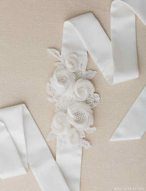 Bel Aire Bridal Belt BT050 - Peony and Lace Satin Belt