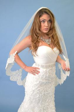 Elena Designs Wedding Veil Style E1107 -Fingertip Lace Veil