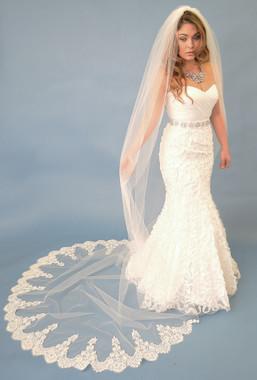 Elena Designs Wedding Veil Style E1107C - Cathedral Lace Edge Veil