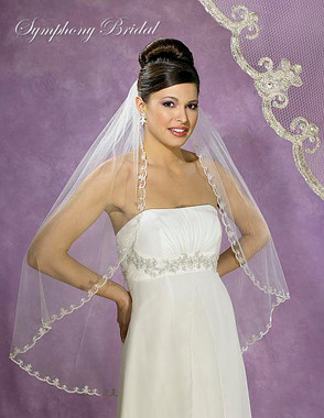 Symphony Bridal Veil - Style 5382VL - Metallic Lace with Roll Edge