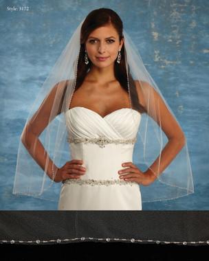 Marionat Bridal Veils 3172 - The Bridal Veil Company - Beaded Border Veil