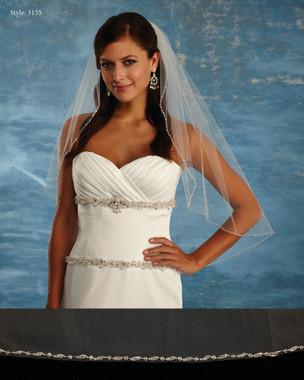 Marionat Bridal Veils 3155 - The Bridal Veil Company - Beaded Border Veil