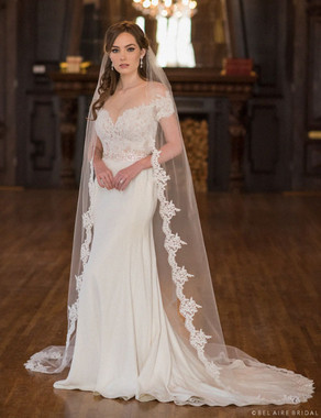 "Bel Aire Bridal Veils V7034CX - Cathedral - 22"" Rolled Edge w/Lace up the sides - 108"" inches Long"
