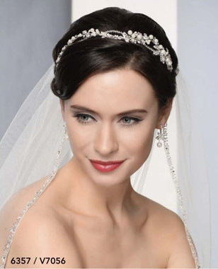 Bel Aire Bridal Veils V7056C - Cathedral - Silver beading, rhinestones, and crystals -108 Inches
