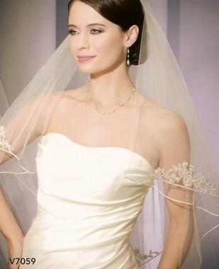 Bel Aire Bridal Wedding Veil V7059 - Two Tier Waltz Soutache Edge