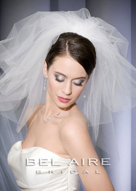 Bel Aire Bridal Veils V7062 - One Tier Elbow and Double Tier Bouffant Pouf w/ Cut Edge