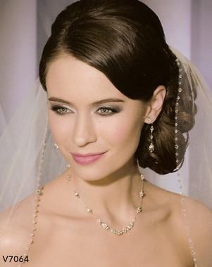 Bel Aire Bridal Wedding Veil V7064 - One Tier Elbow w/ Clear & AB Crystal Edge