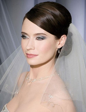 Bel Aire Bridal Wedding Veil V7085 - Two Tier Cut Edge Fingertip w/ Scroll Beading