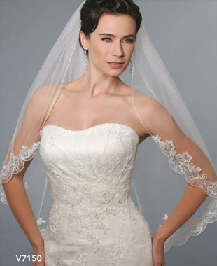Bel Aire Bridal Wedding Veil V7150C - One Tier Cathedral Wedding Veil  Rolled Edge & Beaded Lace