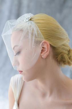 Erica Koesler Wedding Veil 827 - Tulle Blusher w/  Rhinestone