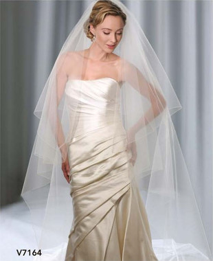 Bel Aire Bridal Wedding Veil V7164 - Two Tier Cathedral Wedding Veil  Rolled Edge w/ Blusher