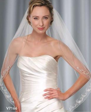 Bel Aire Bridal Wedding Veil V7166 - One Tier Fingertip Silver Rolled Edge