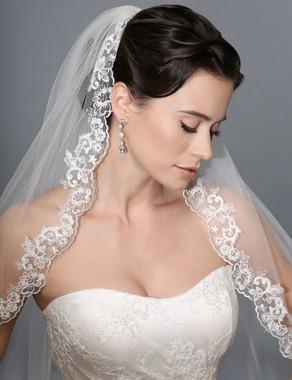 Bel Aire Bridal Veils V7168 - Unbeaded Alencon floral lace veil