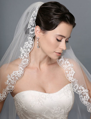 Bel Aire Bridal Wedding Veil V7168C - One Tier Cathedral Wedding Veil Unbeaded Alencon Lace