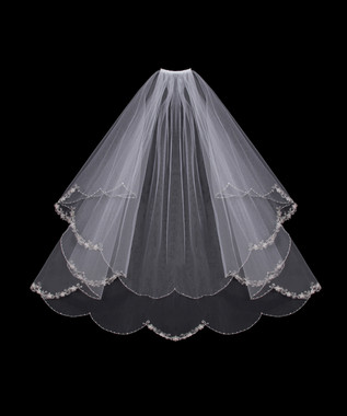 En Vogue Bridal Veil Style V500W - Scalloped Embroidered Edge