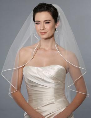 Bel Aire Bridal Wedding Veil V7173 - One Tier Hip Length w/ Soutache Edge