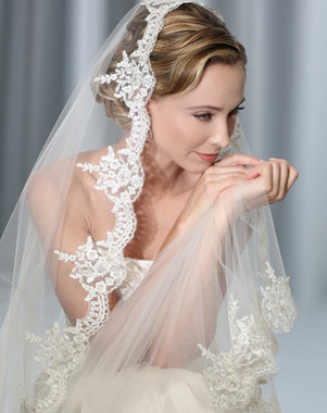 Bel Aire Bridal Veils V7175C - One Tier Cathedral Wedding Veil Mantilla - Alencon Lace