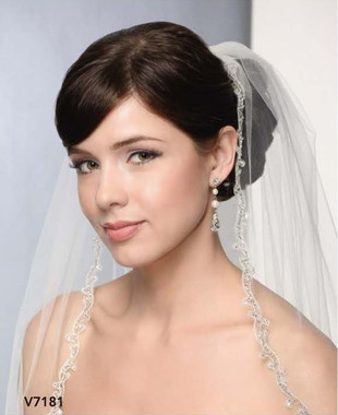 Bel Aire Bridal Wedding Veil V7181 - One Tier Elbow w/ Cut-out Embroidered Edge
