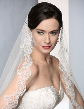 Bel Aire Bridal Wedding Veil V7183C - Cathedral Wedding Veil  Length - Mantilla Style - Alencon Lace