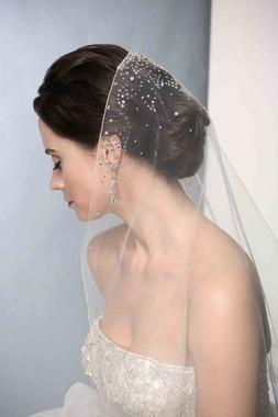 Bel Aire Bridal Wedding Veil V7190 - Fingertip Length - Mantilla w/ Rhinestones
