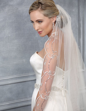 Bel Aire Bridal Veils V7195C - One Tier Cathedral Wedding Veil - Scallop - Beaded - Embroidered