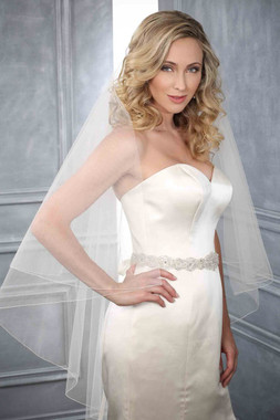 Bel Aire Bridal Wedding Veil V7198 - Two Tier Knee Length w/ Rolled Edge