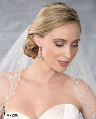 Bel Aire Bridal Wedding Veil V7200 - One Tier Fingertip Embroidered Edge w/ Pearls