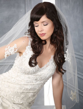 Bel Aire Bridal Wedding Veil V7201 - One Tier Fingertip Silver Edge w/ Alencon Appliques