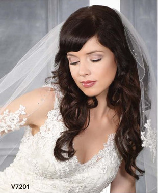 Bel Aire Bridal Veils V7201C - One Tier Cathedral Wedding Veil Silver Edge w/ Alencon Appliques