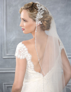 Bel Aire Bridal Wedding Veil V7202 - Mantilla with lace and beaded edge