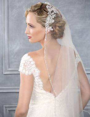 Bel Aire Bridal Wedding Veil V7202C - Cathedral Wedding Veil  Mantilla w/ Beaded Edge & Lace