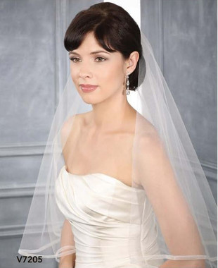 Bel Aire Bridal Accessory Veil V7205 - Two Tier Elbow Length w/ Organza Edge