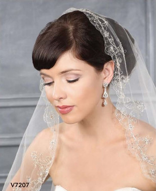 Bel Aire Bridal Wedding Veil V7207 - One Tier Fingertip Mantilla w/ Beaded Edge