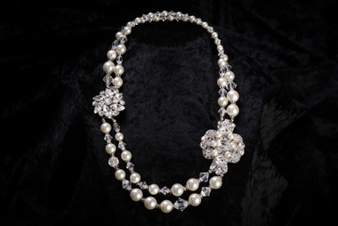 Erica Koesler Necklace J-9363 - Crystal with Rhinestone & Pearl