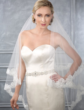 Bel Aire Bridal Wedding Veil V7210 - Two Tier Waltz w/ Chantilly Lace Edge