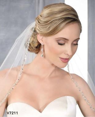 Bel Aire Bridal Veils V7211 - One Tier Elbow Length w/ Beaded Edge