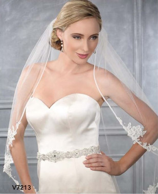 Bel Aire Bridal Accessory Style V7213  - One Tier Fingertip Bias Organza Edge w/ Lace